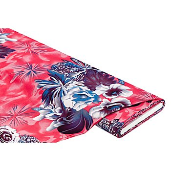 Viskose-Blusenstoff / Javanaise 'Blumen', rot/blau