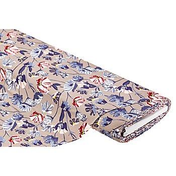 Tissu jersey en viscose 'fleurs', taupe/multicolore