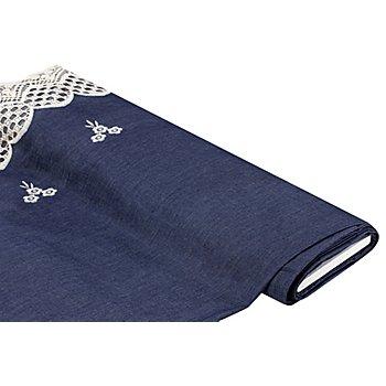 Bestickter Jeansstoff mit Bordüre, blau/wollweiß