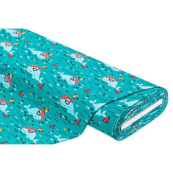 Tissu sweat / French Terry 'baleine-pirate', turquoise/multicolore