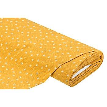 Tissu mousseline / double gaze 'abeilles', moutarde/blanc
