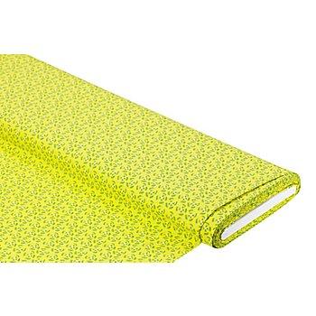 Viskose-Blusenstoff / Javanaise 'Abstrakte Blumen', gelb/grün