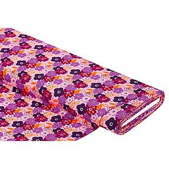 Viskose-Jersey 'Blumen', lila/orange
