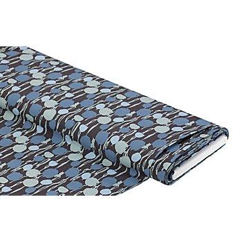 Viskose-Blusenstoff / Javanaise 'Abstrakte Punkte', dunkelgrau/blau