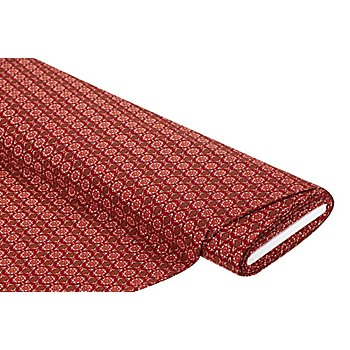 Tissu jersey extensible 'ornements', tons rouges