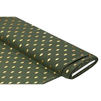 Tissu crêpe 'pois' imprimé métallisé, vert olive/doré