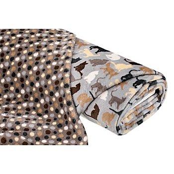 Tissu polaire double-face 'chats & pois', gris/multicolore