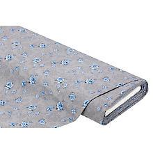 Baumwoll-Trachtenstoff 'Blumen', silber/blau