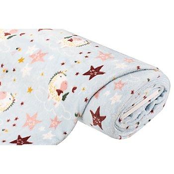 Tissu polaire 'licorne', gris/multicolore