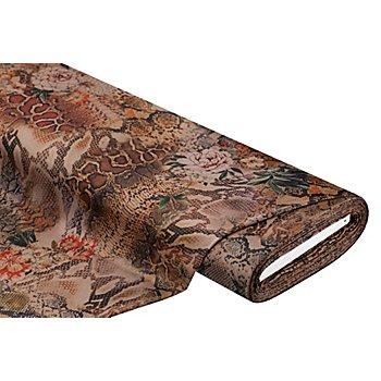 Elastik-Jersey 'Schlange & Blume', hellbraun-color
