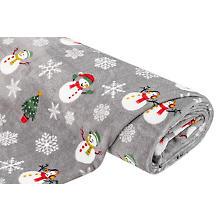 Tissu polaire 'wellness - bonhomme de neige', gris/multicolore