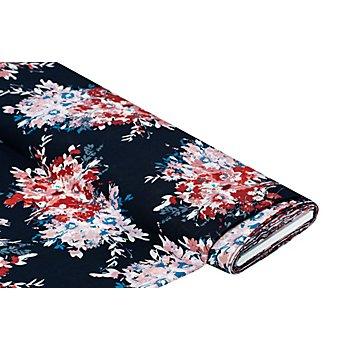 Blusenstoff 'Blumenstrauss', dunkelblau-color