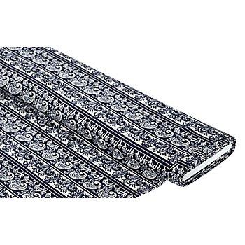 Viskose-Crêpe 'Streifen & Paisley', marine-color