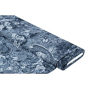 Blusenstoff 'Paisley & Blumen', jeansblau