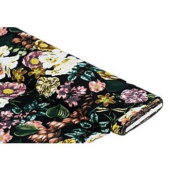 Viskose-Blusenstoff / Javanaise 'Blumen', schwarz-color