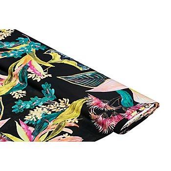 Blusenstoff 'Blumen & Blätter', schwarz-color