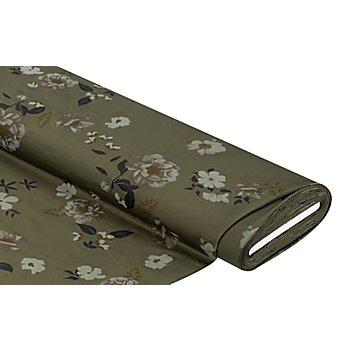 Elastik-Jersey 'Blumen', khaki-color