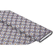 Tissu popeline 'fleurs', gris/multicolore