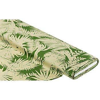 Tissu satin pour blouses 'feuilles', vert/beige