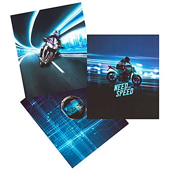 Digital-Baumwolljersey-Coupon 'Motorrad' mit Elasthan