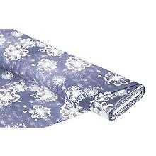 Tissu sweat / french terry 'fleurs', jeans/blanc cassé