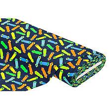 Baumwolljersey 'Skateboard' mit Elasthan, marine/neon