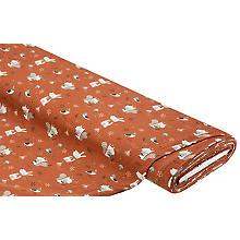 Tissu Jersey en coton 'animaux de la forêt' avec élasthanne, terracotta/multicolore
