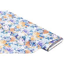 Baumwoll-Blusenstoff 'Blumen', blau/braun