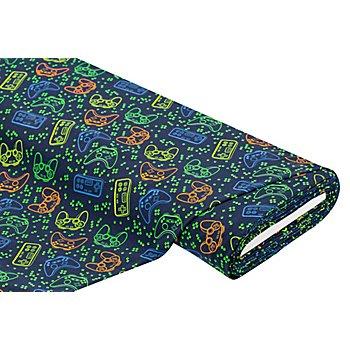 Tissu jersey en coton 'console de jeux' avec élasthanne, bleu marine/multicolore