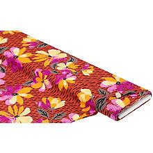 Tissu en viscose sergé pour blouses 'fleurs & gouttes', rouille-orange/multicolore