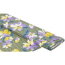Tissu en viscose sergé pour blouses 'fleurs & gouttes', vert olive/multicolore