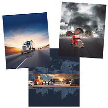 Tissu panel French-Terry à impression numérique 'camions' avec élasthanne