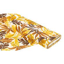 Viskose-Leinen-Mix 'Blätter', Farbe: gelb/braun