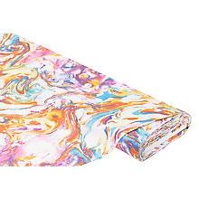Baumwolljersey 'Batik Pastell' mit Elasthan, weiß/bunt
