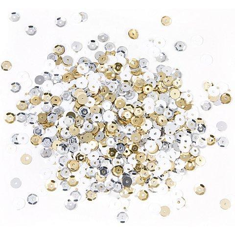 Image of Pailletten, gold-silber-weiss, 6 mm Ø, 30 g
