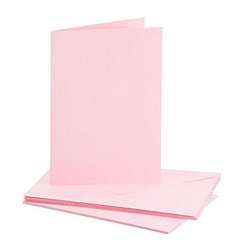Set de 5 cartes doubles et enveloppes, rose clair, A5/C5