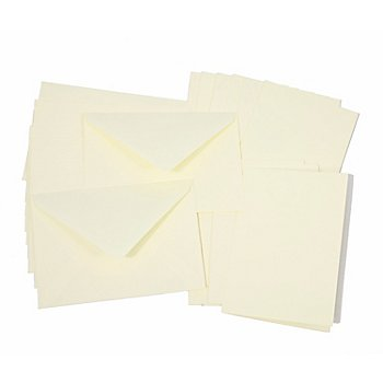 Doppelkarten & Hüllen, creme, A6 / C6, je 10 Stück