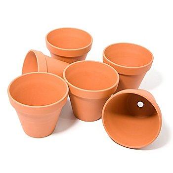 Pots en terre cuite, 12 cm de hauteur, 13 cm Ø, 6 pièces