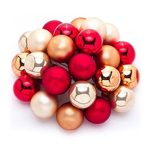 Image of Weihnachtskugeln am Draht, gold, rot, orange, 2 cm Ø, 24 Stück