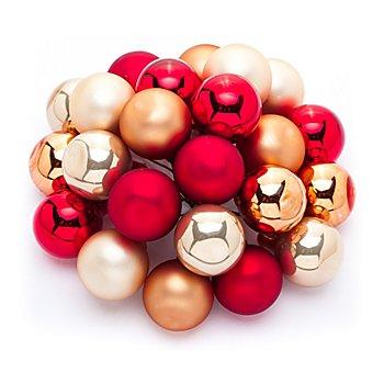 Weihnachtskugeln am Draht, gold, rot, orange, 2 cm Ø, 24 Stück