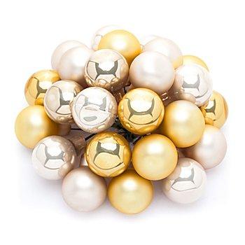 Weihnachtskugeln am Draht, gold, creme, 2 cm Ø, 24 Stück
