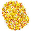 Rocailles-Perlen, gelb-orange-weiß, 2,5 mm Ø, 100 g