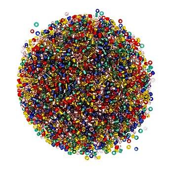 Rocailles-Perlen, bunt, 2,5 mm Ø, 100 g