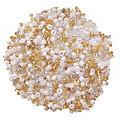 Perles de rocaille, blanc/argente/doré, 2,5 mm Ø, 100 g