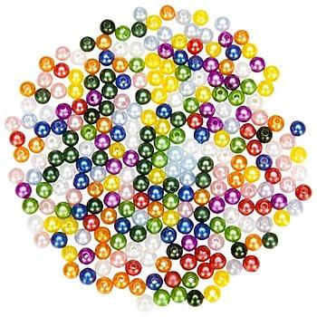 Perles nacrées en acrylique 'multicolores', 6 mm, Ø 25 g