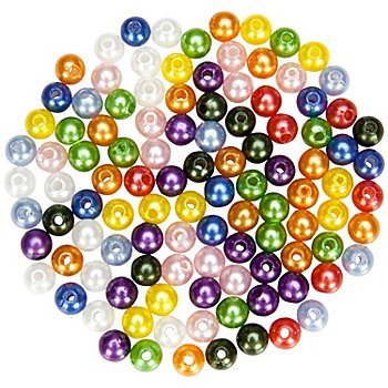 Perles nacrées en acrylique 'multicolores', 8 mm, Ø 25 g