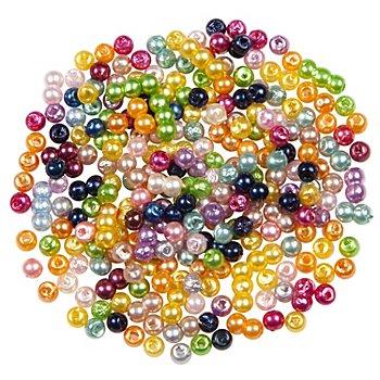 Perles nacrées en acrylique, multicolore, 3 mm, Ø 15 g