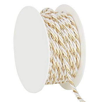 Kordel, creme-weiß-gold, 4 mm, 10 m