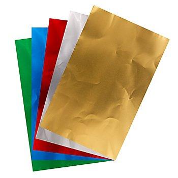 Papier métallique, multicolore, 5 feuilles, 18,5 x 29 cm, 5 feuilles
