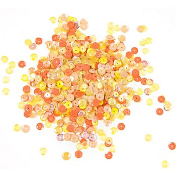 Paillettes, tons jaune/orange, 6 mm Ø, 30 g